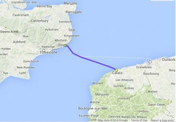 Dover to Calais freight ferry route