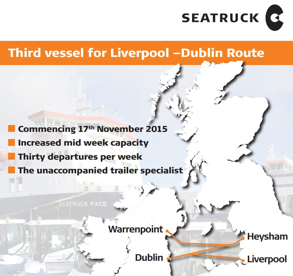 Map illustrating Seatruck Adding Ferry to Liverpool-Dublin Route